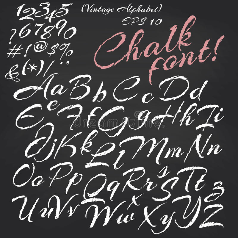 Alfabeto do vetor Fonte do giz no quadro-negro ilustração royalty free