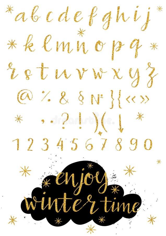 Alfabeto do vetor Letras do alfabeto escrito com uma escova ilustração stock