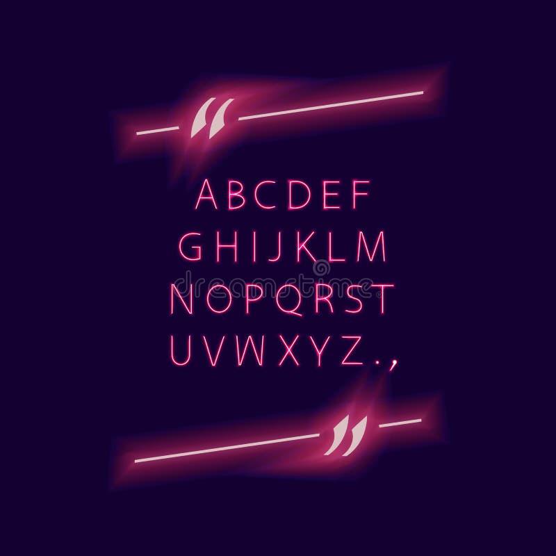 Alfabeto do vetor no quadro das citações, luzes de incandescência de néon, isoladas no fundo escuro Typeset e na beira da cotação ilustração do vetor