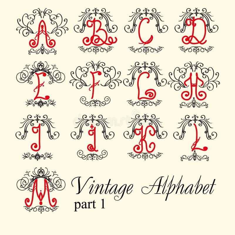 Alfabeto do vintage ajuste a parte 1 das letras ilustração stock