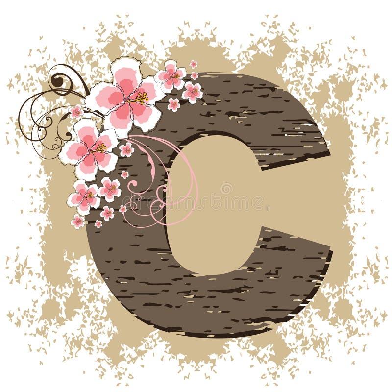 Alfabeto do vintage do grunge do hibiscus ilustração do vetor