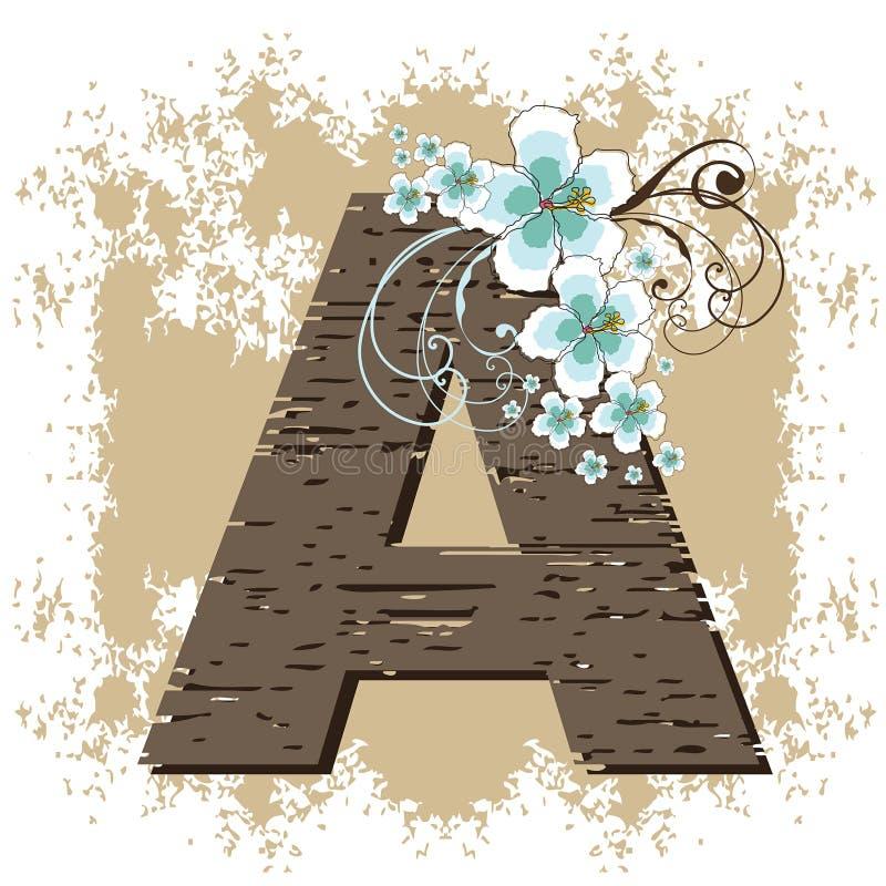 Alfabeto do vintage do grunge do hibiscus ilustração royalty free