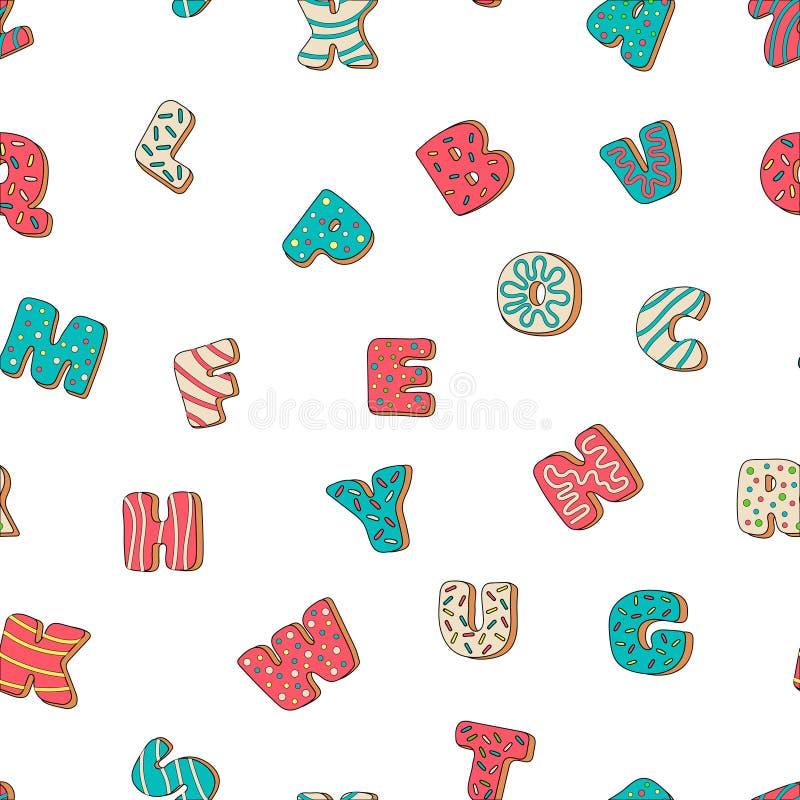 Alfabeto doce do biscoito com teste padrão sem emenda de congelamento multi-colorido ilustração do vetor