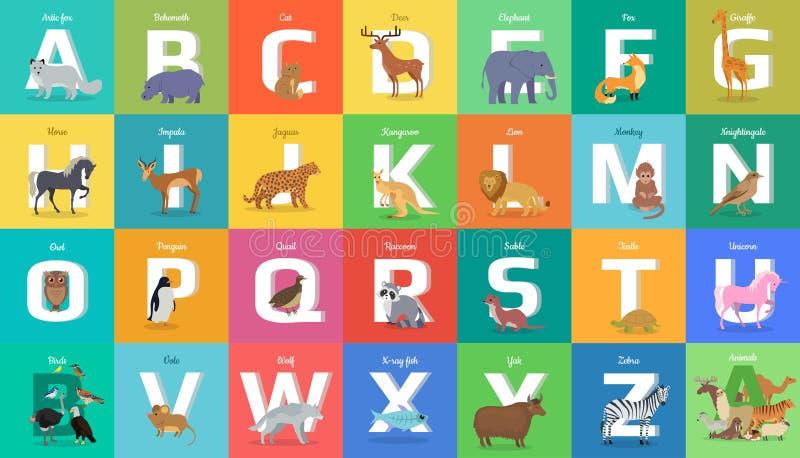 Alfabeto dos animais Letra de à Z ilustração do vetor
