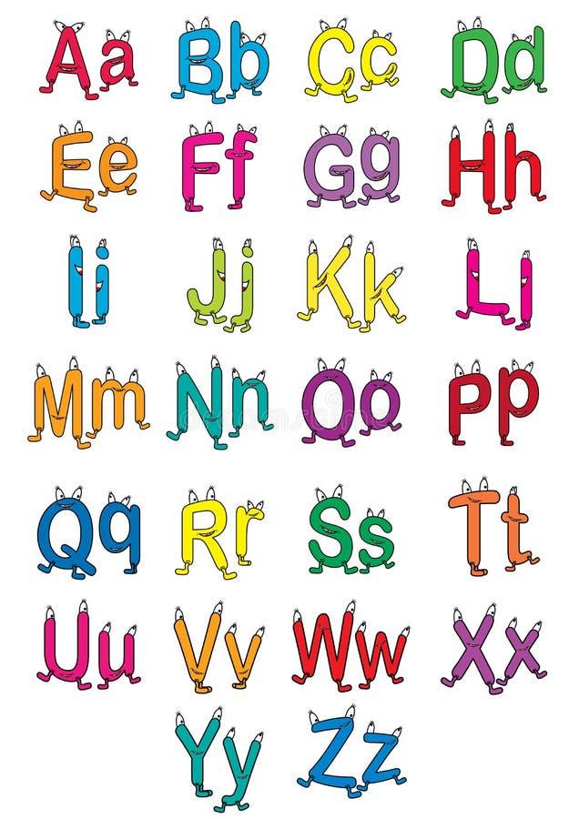 Alfabeto dos desenhos animados ilustração stock