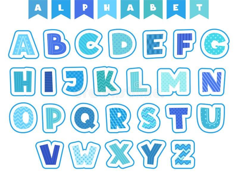 Alfabeto dos desenhos animados O vetor dos símbolos e dos números das fontes das letras coloriu caráteres engraçados isolados ilustração stock