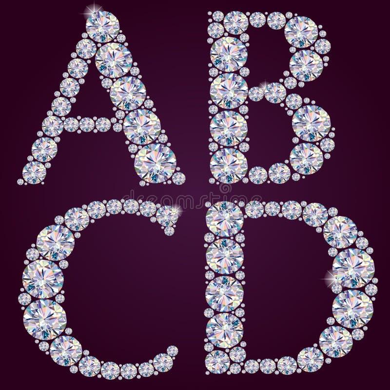 Alfabeto dos diamantes ABCD ilustração stock