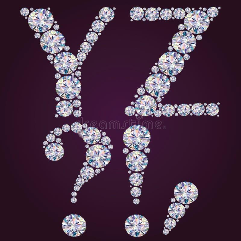 Alfabeto dos diamantes YZ ilustração do vetor