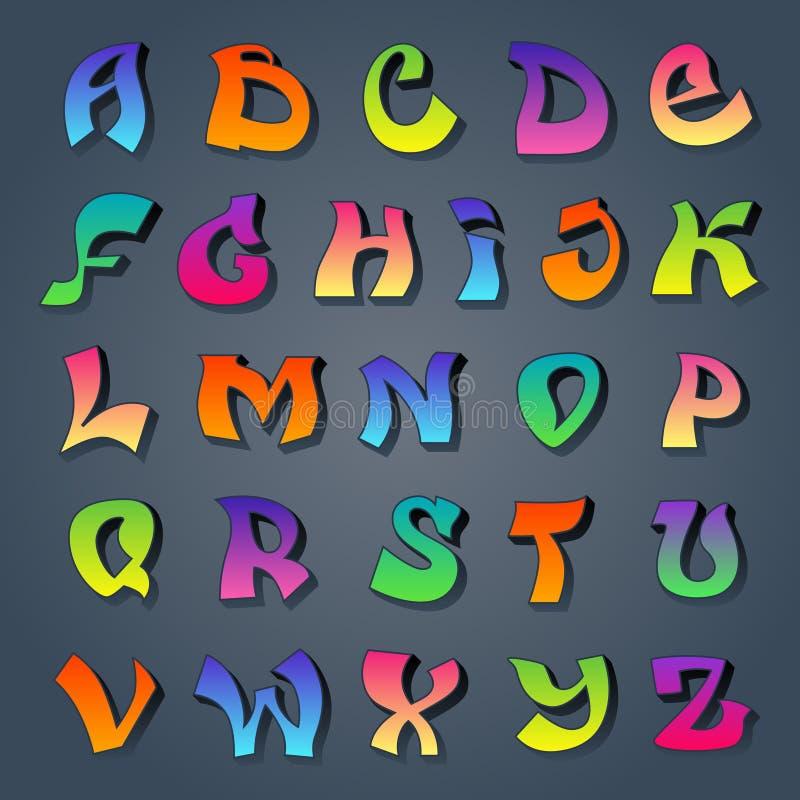 Alfabeto dos grafittis colorido ilustração stock