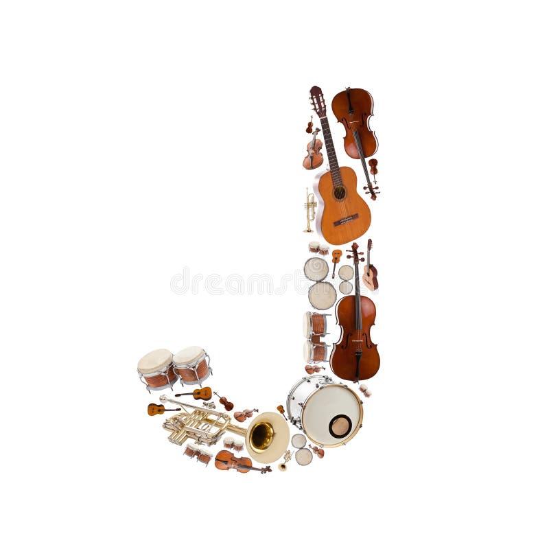 Alfabeto dos instrumentos musicais imagem de stock royalty free