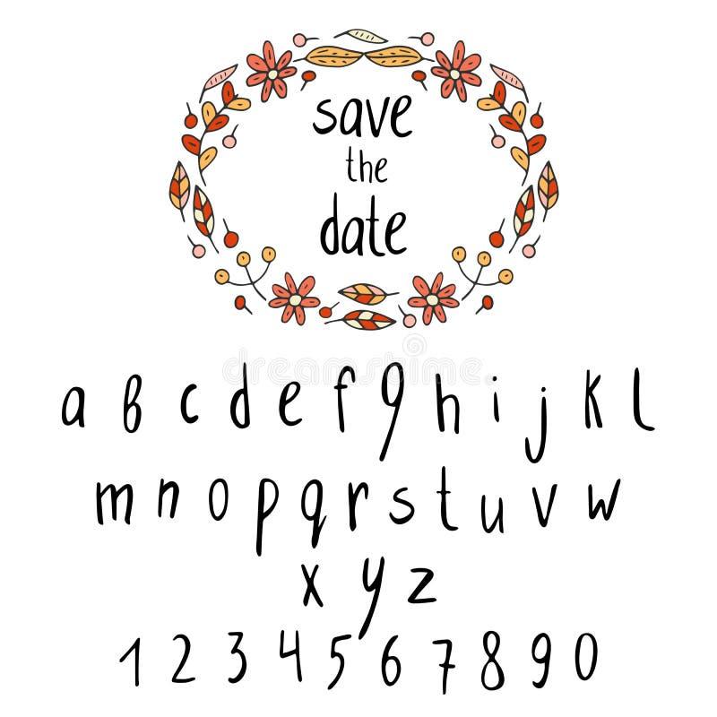 Alfabeto drenado mano del doodle stock de ilustración
