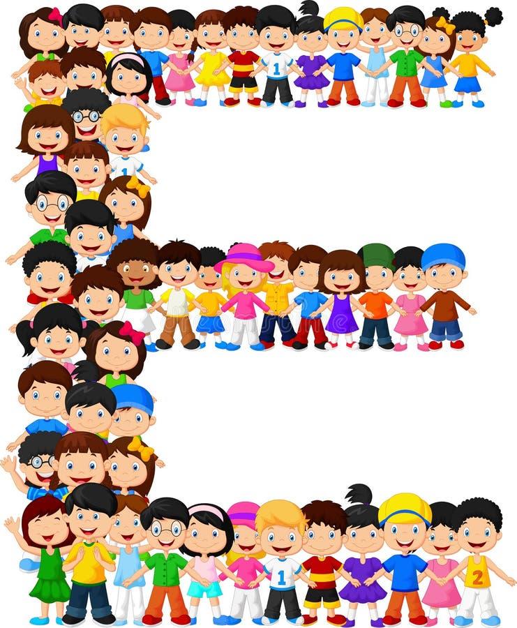Alfabeto E do formulário das crianças ilustração royalty free