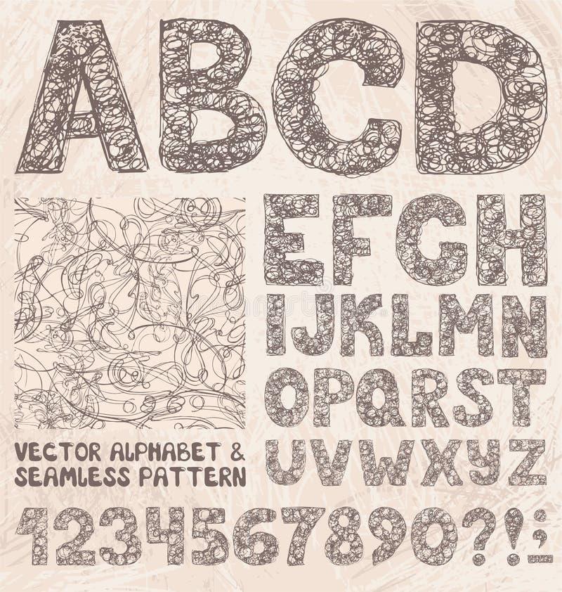Alfabeto e números do esboço do lápis Grupo do vetor do desenho da mão ilustração stock