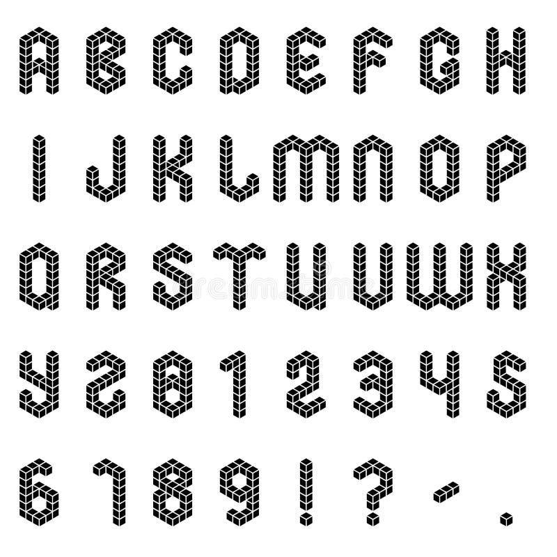 Alfabeto e números isométricos ilustração royalty free
