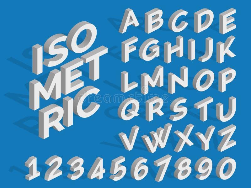 Alfabeto e números isométricos do vetor Fonte 3d funky ilustração stock