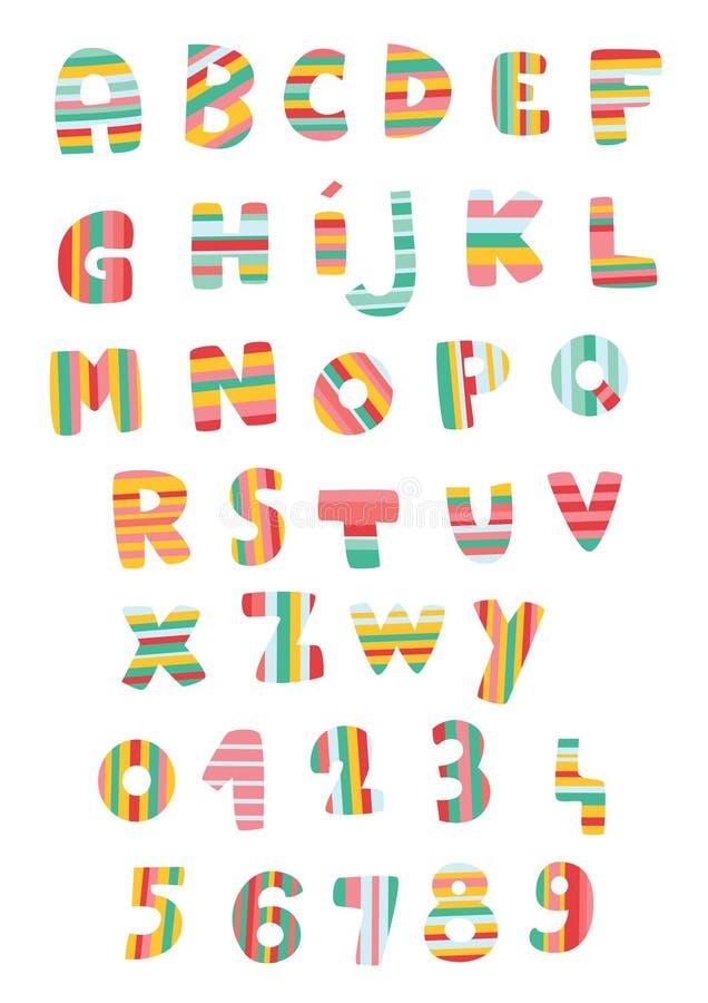 Alfabeto e números listrados ilustração do vetor