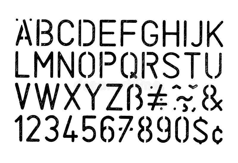 Alfabeto e números pretos do estêncil do grunge do vetor no fundo branco ilustração royalty free