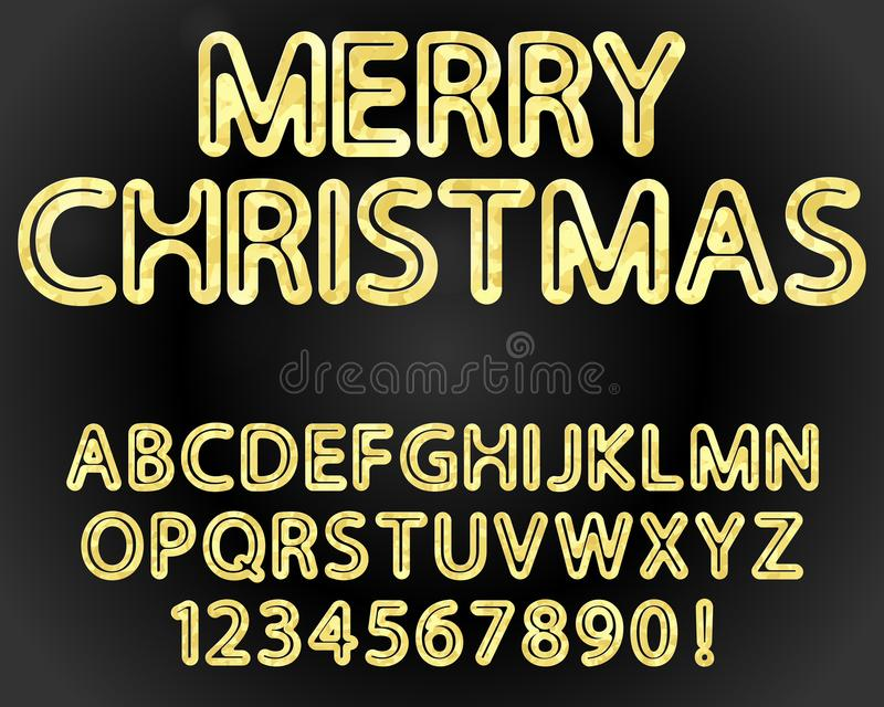 alfabeto e numerais do ouro ilustração stock