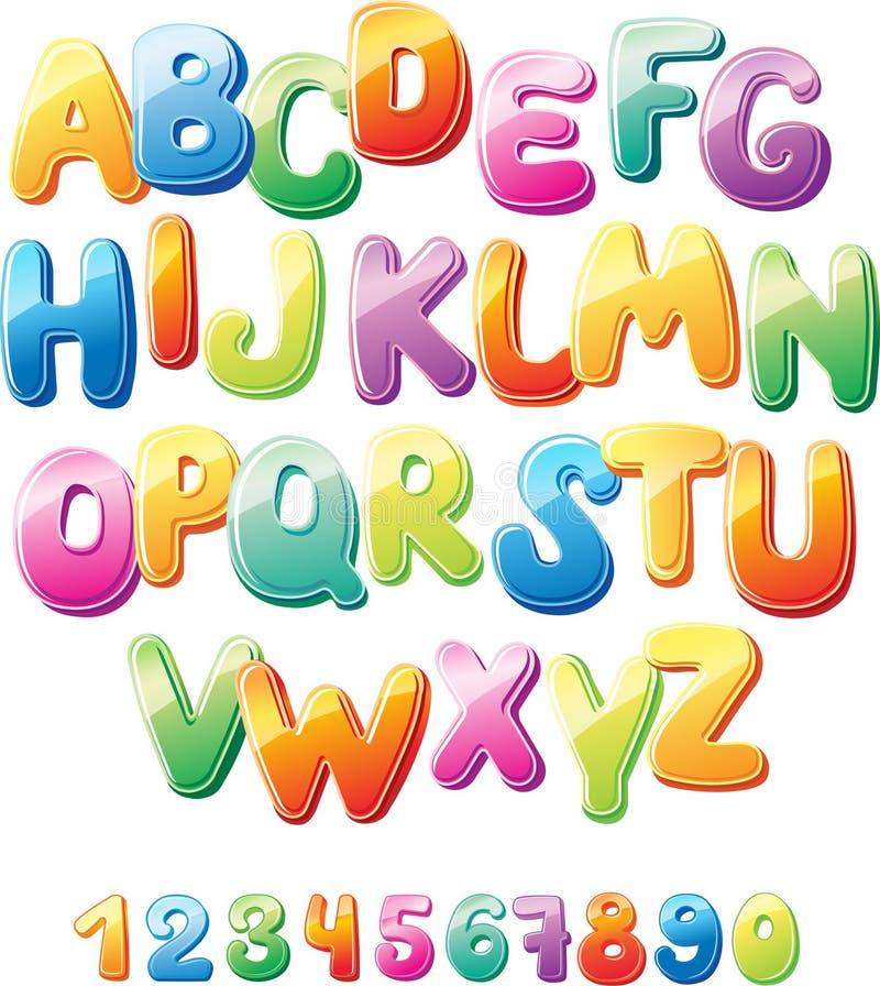 Alfabeto e numeri illustrazione vettoriale