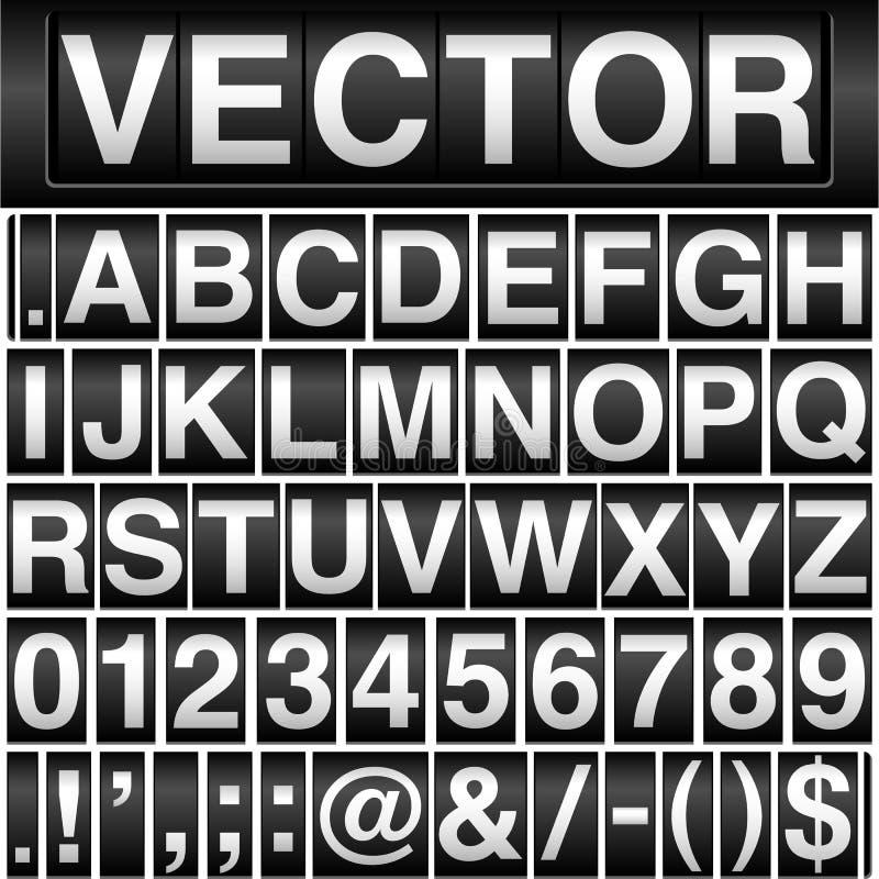 Alfabeto e numeri dell'odometro illustrazione vettoriale