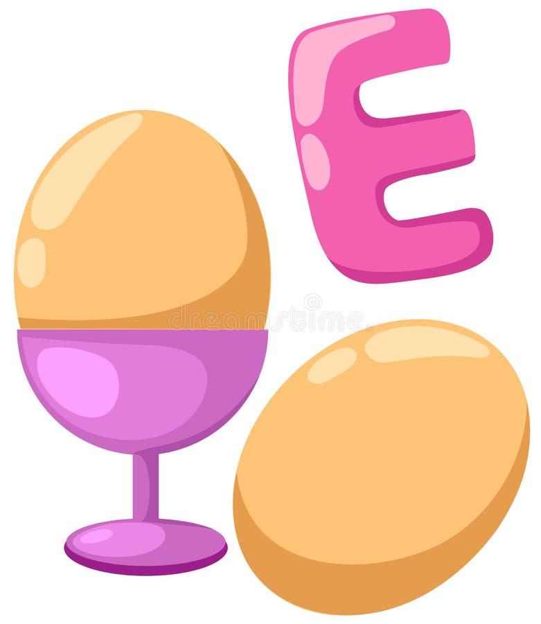 Alfabeto E para el huevo stock de ilustración