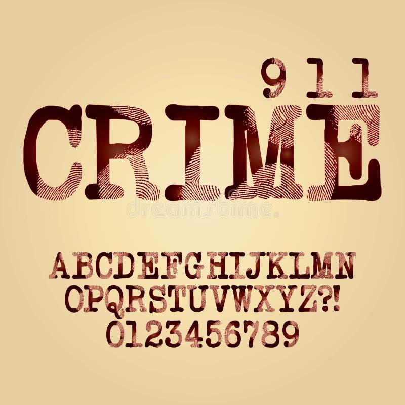 Alfabeto e vetor criminosos abstratos do dígito ilustração royalty free