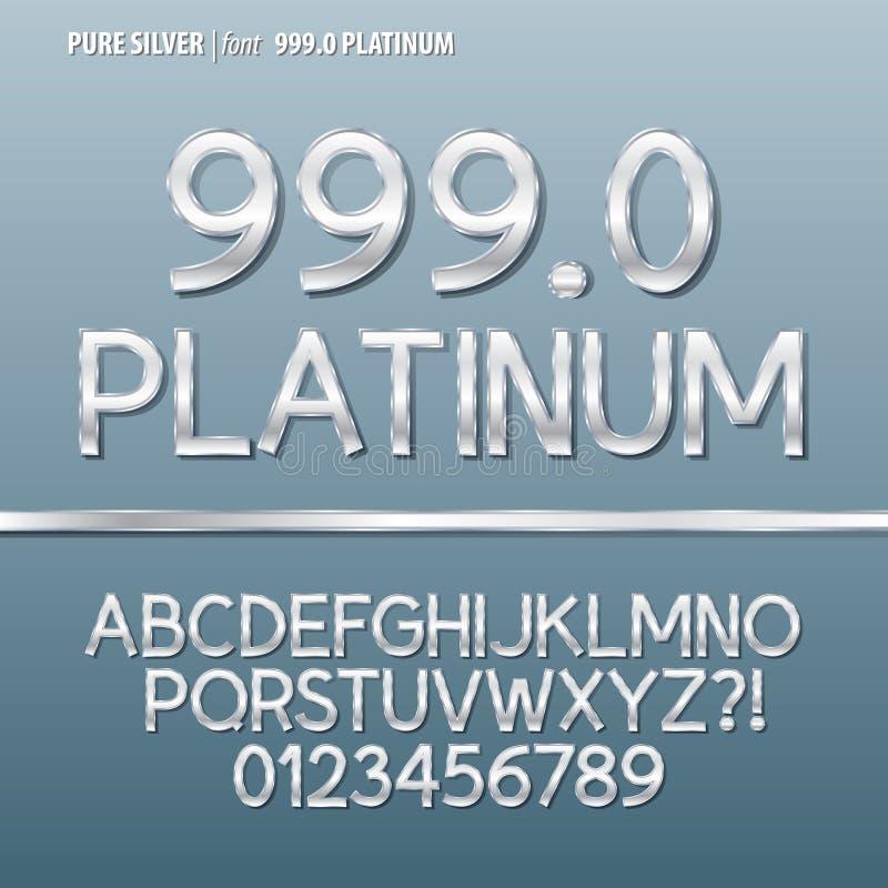 Alfabeto e vettore d'argento puri della cifra royalty illustrazione gratis