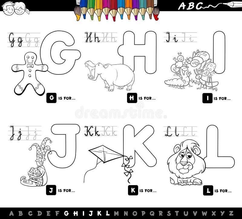 Alfabeto educativo de la historieta para los niños que colorean la página ilustración del vector