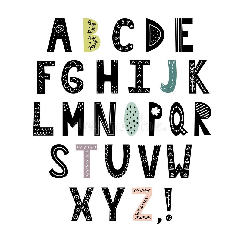 Alfabeto en estilo escandinavo Letras exhaustas de la mano, ABC elegante ilustración del vector