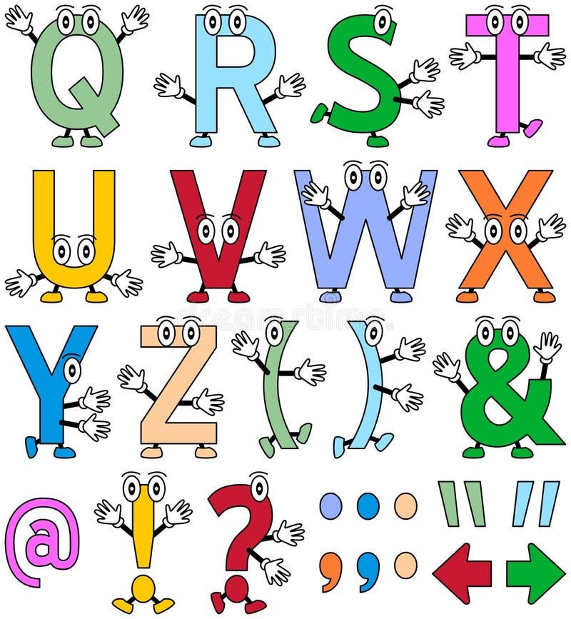 Alfabeto engraçado dos desenhos animados [2] ilustração stock