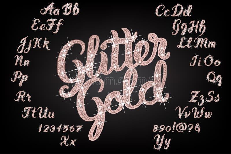 Alfabeto escrito à mão do ouro cor-de-rosa do brilho ilustração stock
