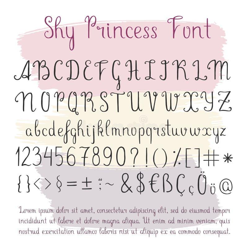 Alfabeto escrito à mão do vetor ilustração royalty free