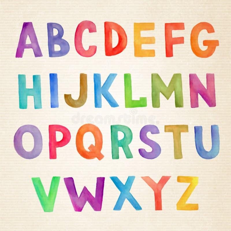 Alfabeto escrito à mão do vetor colorido da aquarela ilustração royalty free