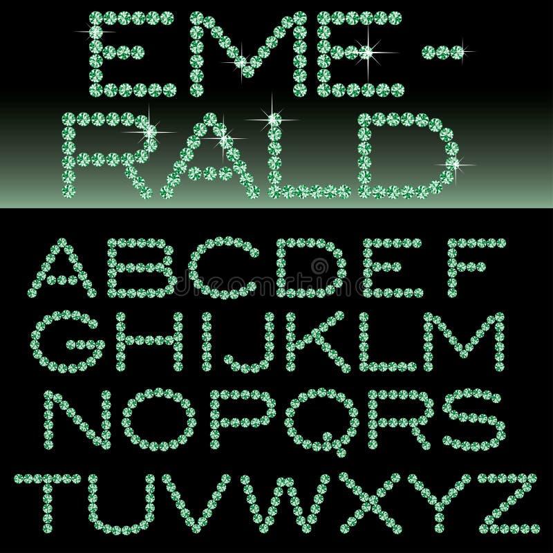Alfabeto esmeralda ilustración del vector