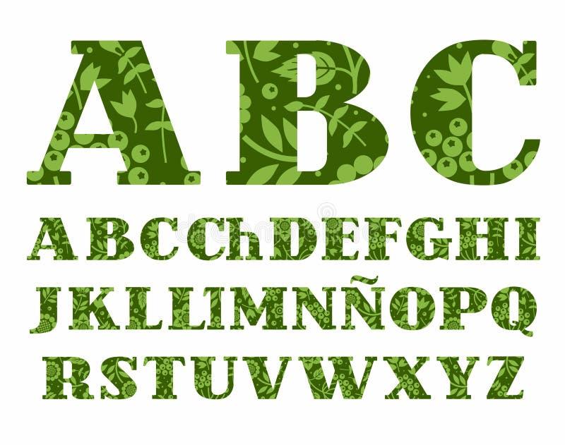 Alfabeto espanhol, bagas e ervas, verde, vetor ilustração do vetor