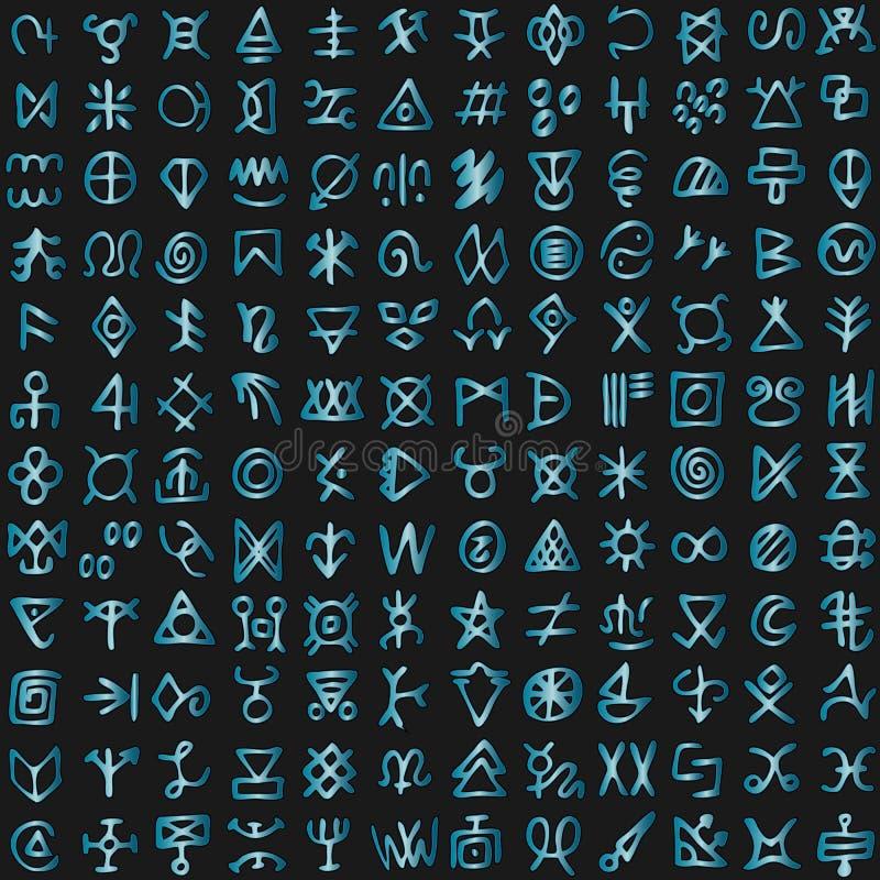 Alfabeto estrangeiro digital da linguagem de programação da matriz do código futurista do Cyberspace ilustração stock