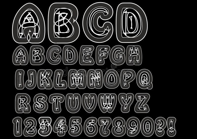 Alfabeto extraño disidente en la línea blanca Sistema original de la fuente con los elementos del garabato, los caracteres mayúsc ilustración del vector