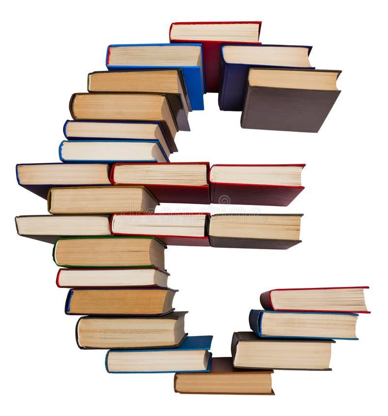 Alfabeto fatto dai libri, euro segno immagini stock libere da diritti