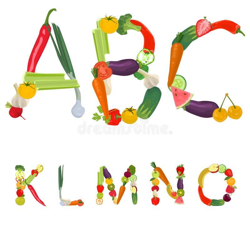 Alfabeto fatto delle frutta e delle verdure immagine stock libera da diritti