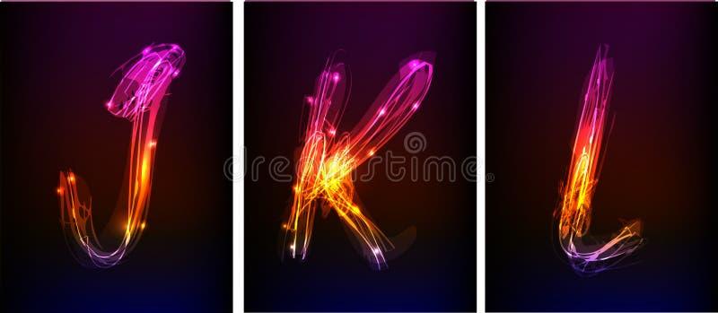 Alfabeto fatto di luce al neon royalty illustrazione gratis