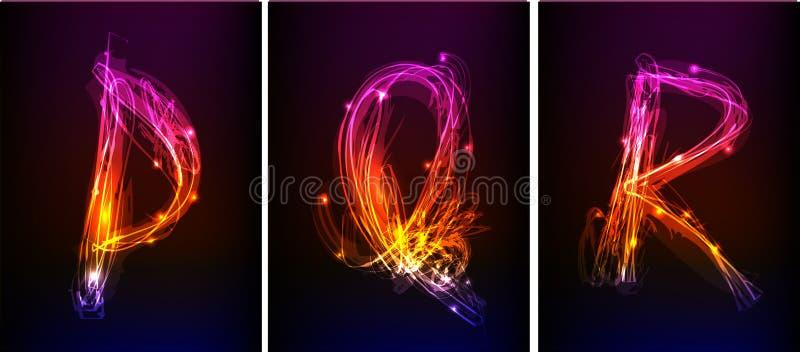 Alfabeto fatto di luce al neon illustrazione di stock