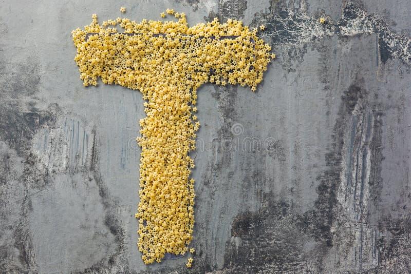 Alfabeto feito da massa Letra T fotografia de stock royalty free