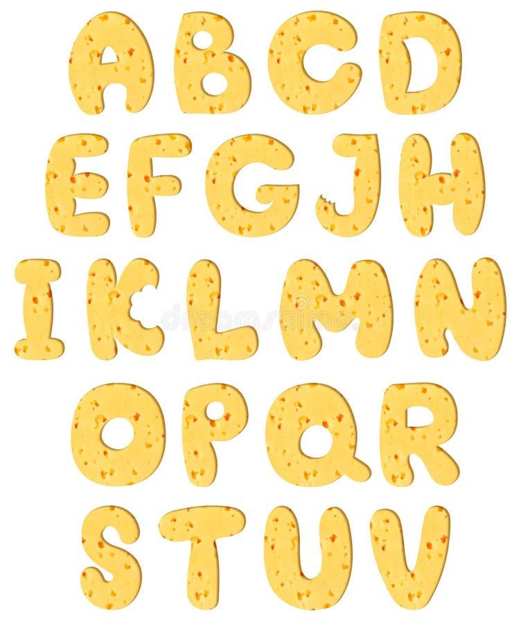 Alfabeto feito do queijo ilustração stock
