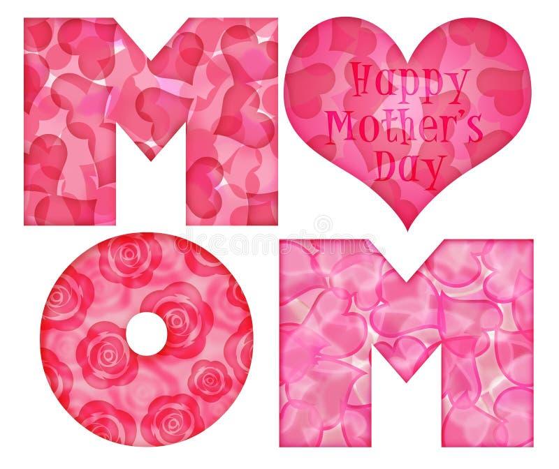 Alfabeto feliz da mamã do dia de matriz ilustração do vetor