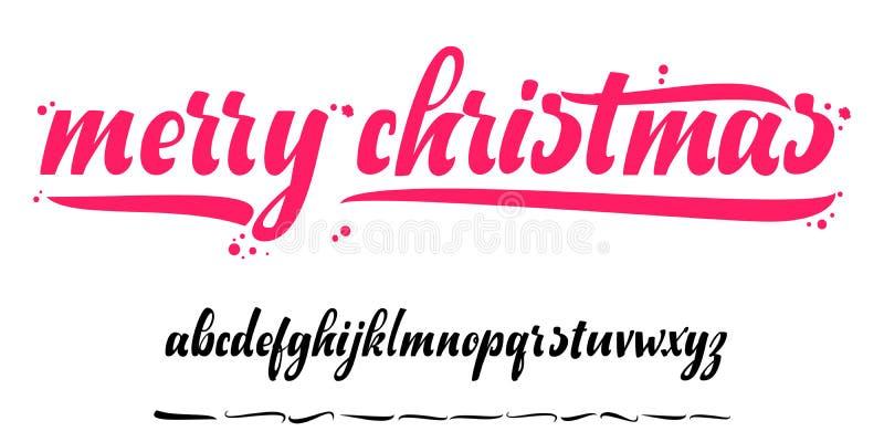 Download Alfabeto - Feliz Navidad, Insignia De Navidad Con Las Letras Manuscritas Ilustración del Vector - Ilustración de holiday, decorativo: 100535036