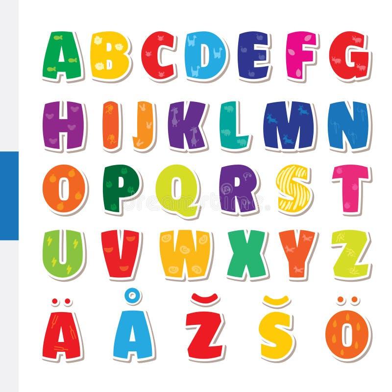 Alfabeto finlandés infantil divertido lindo Ejemplo de la fuente de vector stock de ilustración