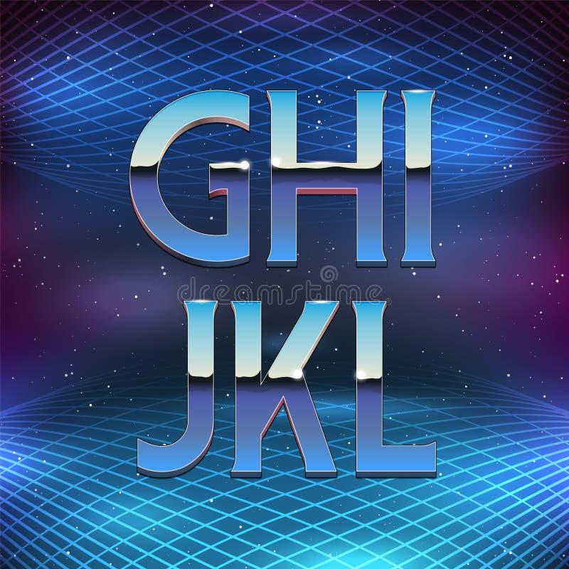 Alfabeto fino de Chrome no estilo retro do futurismo 80s ilustração stock