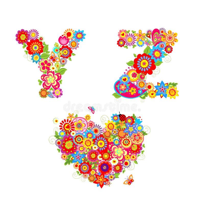 Alfabeto Floral Con La Letra Y, Z Ilustración del Vector ...