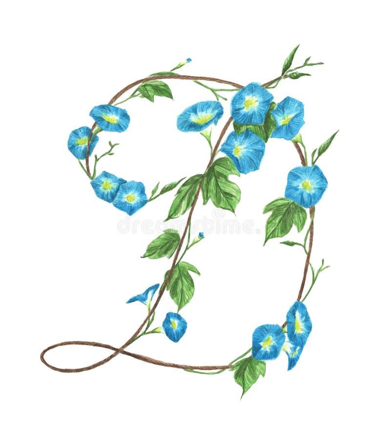 Alfabeto floral de la acuarela Letra D hecha de flores stock de ilustración