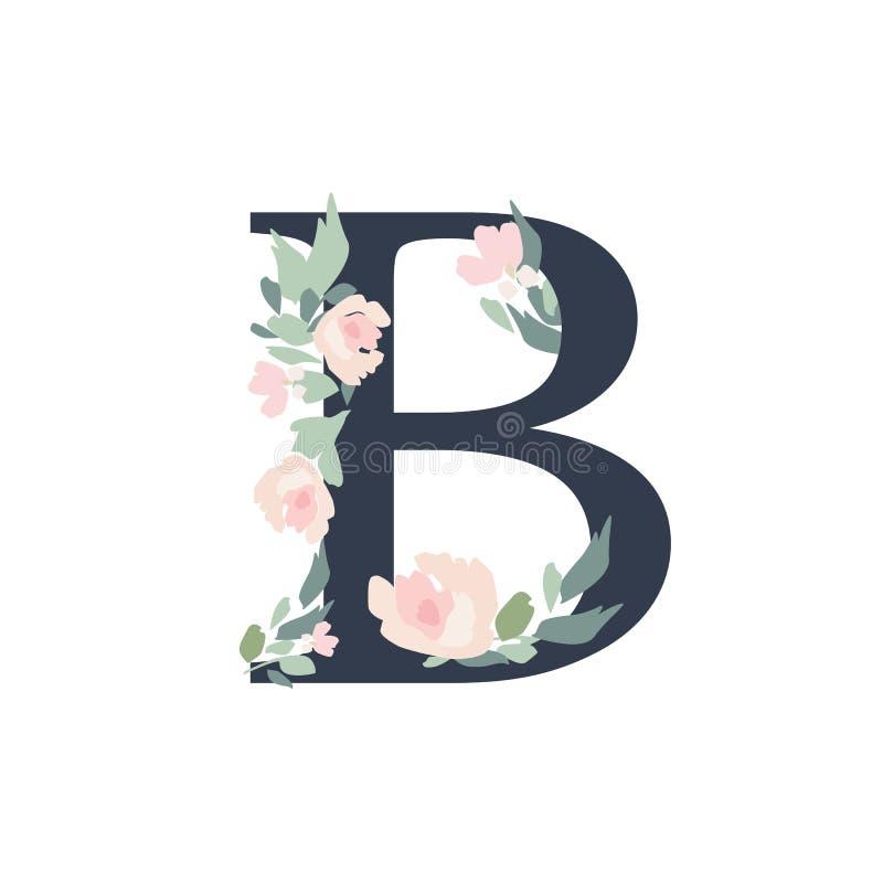 Alfabeto floral - letra Ð con la composición del ramo de las flores libre illustration